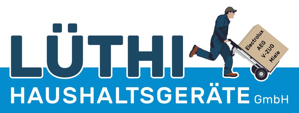Lüthi Haushaltsgeräte GmbH. Das Logo zeigt den Firmennamen und einen Mann mit Sackkarre im Laufschritt mit einer grossem Box, auf der die Markennamen Electrolux, AEG, V-Zug und Miele stehen.